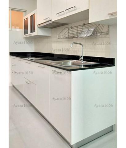 ชุดครัว Built-in ตู้ล่าง โครงซีเมนต์บอร์ด หน้าบาน Laminate สีขาวเงา Ultra White