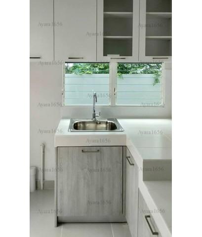 ชุดครัว Built-in ตู้ล่าง โครงซีเมนต์บอร์ด หน้าบาน Melamine สีขาวด้าน + Oak - ม.พฤกษ์ลดา