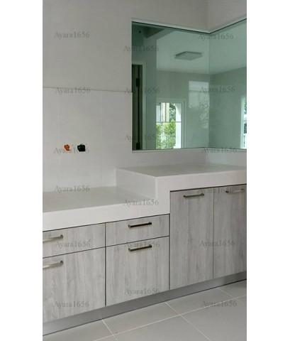 ชุดครัว Built-in ตู้ล่าง โครงซีเมนต์บอร์ด หน้าบาน Melamine สีขาวเงา + Oak - ม.พฤกษ์ลดา