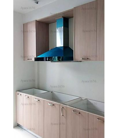 ชุดครัว Built-in ตู้ล่าง โครงซีเมนต์บอร์ด หน้าบาน Laminate สี Blond Afromosia ลายไม้