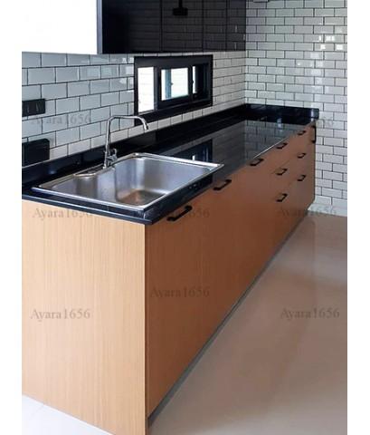 ชุดครัว Built-in ตู้ล่าง โครงซีเมนต์บอร์ด หน้าบาน Melamine สี Teak ลายไม้ - ม.Delight