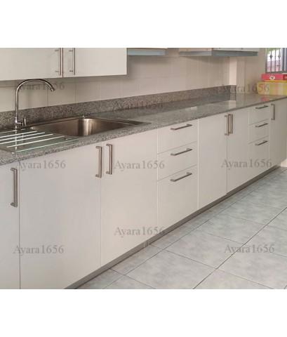 ชุดครัว Built-in ตู้ล่าง โครงซีเมนต์บอร์ด หน้าบาน Melamine สีขาวด้าน
