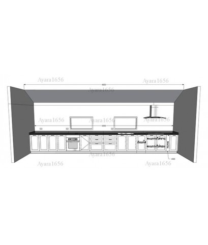 ชุดครัว Built-in ตู้ล่าง โครงซีเมนต์บอร์ด หน้าบาน ไม้ HMR พ่นสีขาวด้าน เซาะร่อง