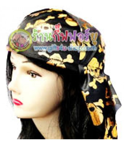 หมวกโพกหัวโจรสลัด (สีดำทอง)