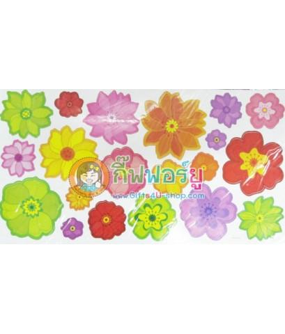 สติกเกอร์ติดฝาผนัง DIY ดอกไม้หลากสี HPD099