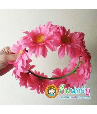มงกุฎดอกไม้ มงกุฎปัจฉิม มงกุฎรับปริญญา (สีชมพู)