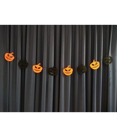 1 เส้น ลายหน้าฟักทอง ธงราวผ้า ธงแขวน ธงราวสามเหลี่ยม ธงฮาโลวีน ธง D.I.Y. Halloween ยาว 3 เมตร