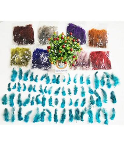 1 ถุง ลายจุด สีน้ำตาล ขนเป็ดย้อมสี ขนนกย้อมสี ขนไก่ย้อมสี ขนเฟอร์ สำหรับงานประดิษฐ์ ดีไอวาย DIY