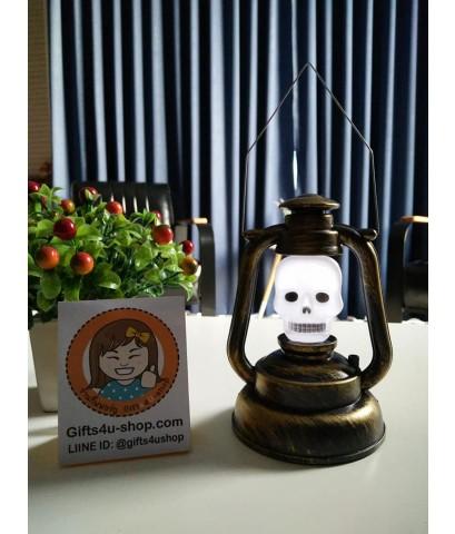 1 อัน (เล็ก) มีไฟมีเสียง ตะเกียงหัวกะโหลก ตะเกียงฮาโลวีน ตะเกียงไฟฟ้า โคมไฟหัวกะโหลก Halloween Lamp