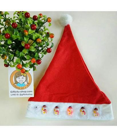 ราคาส่ง 12 ใบ มีไฟ ลายสโนแมน snow man หมวกซานตาครอส หมวกคริสมาสต์ หมวกผ้าใยสำลี Christmas hat