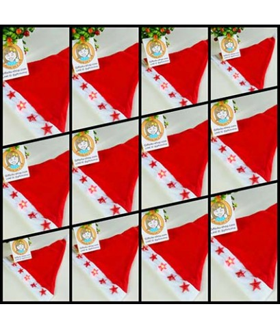 ราคาส่ง 12 ใบ มีไฟ ลายดาว สีแดง red star หมวกซานตาครอส หมวกคริสมาสต์ ผ้าใยสำลี