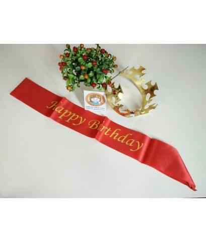 1 เซ็ต 2 ชิ้น สีแดง สายสะพาย happy birthday + สีทอง มงกุฎเจ้าชาย พระราชา ปัจฉิม รับปริญญา