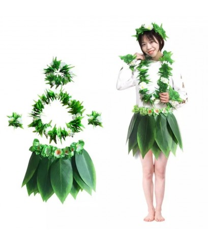 1 ชุด 5 ชิ้น ชุดฮาวายใบไม้ กระโปรงฮาวายใบไม้ +มาลัยคอ+ มาลัยหัว+มาลัยข้อมือ ฮาวาย มาลัยดอกไม้