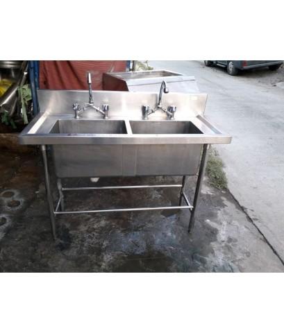 ซิ้งค์ล้างจานสแตนเลสหนาๆ ลึก30cm2หลุมสแตนเลสแท้หนา 304 ขายถูกๆอุปกรณ์ครบพร้อมใช้งาน