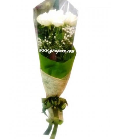 ช่อดอกกุหลาบขาว B031
