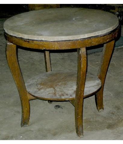 โต๊ะกลมไม้สัก หน้าหินอ่อน