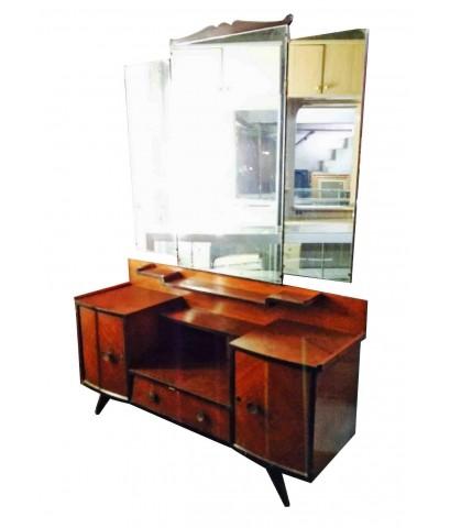 โต๊ะเครื่องแป้งไม้อัดสัก กระจกพับได้