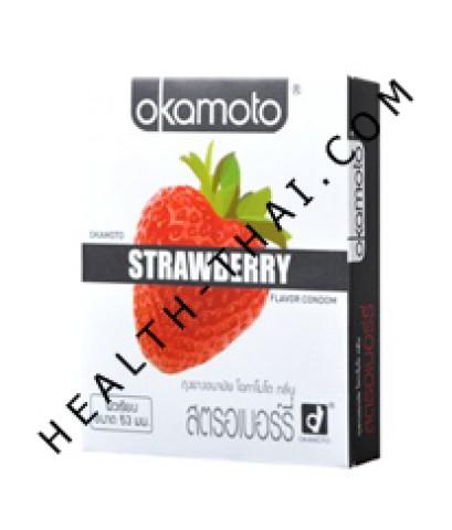 ถุงยางอนามัย Okamoto Strawberry โอกาโมโต สตรอเบอรี่ - 53 มม. - 1 กล่อง