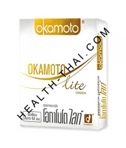 Okamoto Lite ถุงยางอนามัย โอกาโมโต ไลท์ – ถุงยางบาง 0.049 มม. (ขนาด 52 มม.) - 1 กล่อง