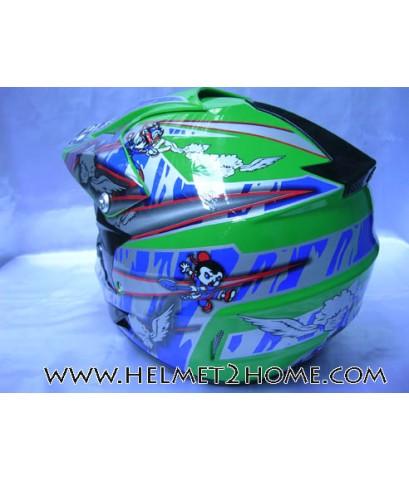 หมวกกันน็อควิบากเด็ก WLT helmet รุ่น 125 ลายการ์ตูน สีเขียว