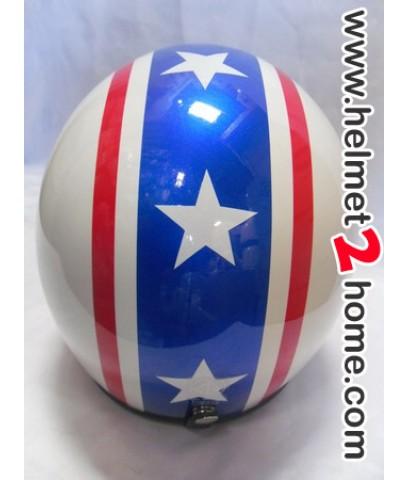 หมวกกันน็อคคลาสสิค Star helmet รุ่น PF ลายธงชาติไทย คาดดาว