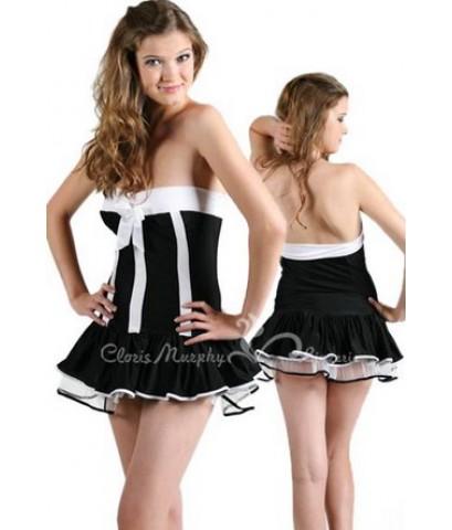 พร้อมส่ง แฟชั่น ชุดกระโปรงสั้น ดำขาว พร้อมที่คาดผม จีสตริง SEXY French Maid Costume Mini Dress Blac
