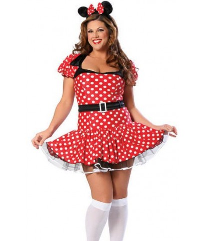pre order ชุดแฟนซีคนอ้วน  ไซต์ใหญ่ ชุดแฟนซีบิ๊กไซส์ พร้อมที่คาดผม Plus Size Miss Mouse Costume
