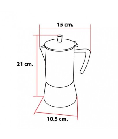 เครื่องชงกาแฟ Moka pot 6 แก้ว (หูจับรูปกรวย) 1614-072