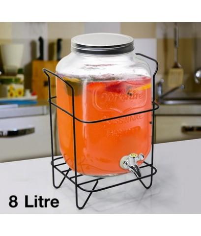โถแก้วจ่ายน้ำหวาน 8 ลิตร พร้อมที่ตั้งโถน้ำ 1610-543