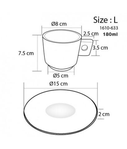 ชุดแก้วของขวัญ แก้วกาแฟ 180 ml. ขนาดใหญ่ ลาย cafe 1610-633-01