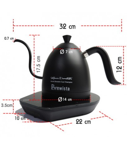 กาต้มน้ำคอห่าน Brewista ต้มตามอุหณภูมิที่กำหนด 600 ml. สีดำ 1614-174-C01