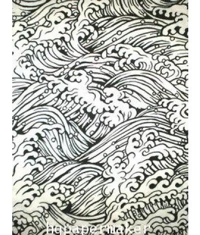 กระดาษสาเครื่อง พิมพ์ลาย พิมพ์1สี รูปคลื่นเส้นสีดำบนกระดาษสีขาว 5030_S770W
