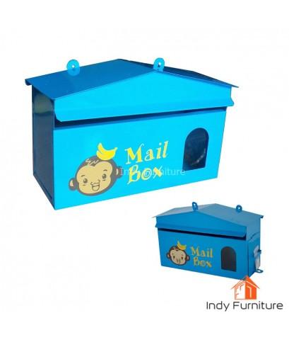 ตู้จดหมาย ตู้รับจดหมาย กล่องใส่จดหมาย ทรงบ้าน ลายลิงน้อย (สีฟ้า)