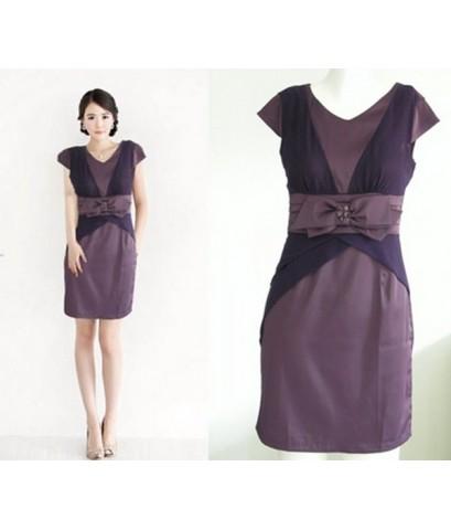 ชุดเดรสสีม่วง ผ้าซาติน