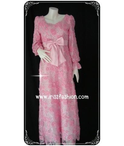 ชุดราตรีมุสลิมผ้าลูกไม้สีชมพู