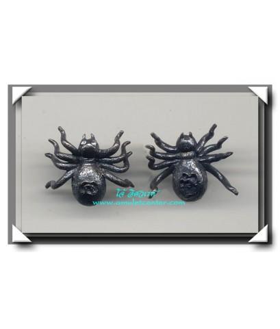 หลวงปู่สุภา แมงมุมเรียกดักทรัพย์ ตาเพชร เนื้อทองผสมรมดำ