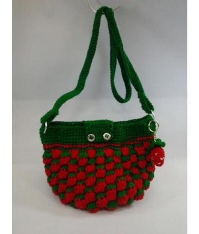 กระเป๋าถักไหมพรม (สตอเบอรี่สีแดงสด)