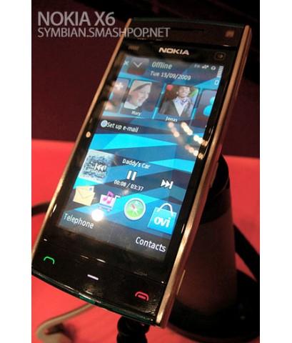 โนเกีย-Nokia X6 32 GB. ระบบดาวเทียม ค้นหาตำแหน่ง GPS navigation ฟังเพลงต่อเนื่อง 35 ชั่วโมง