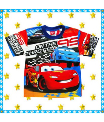 เสื้อการ์ตูนแมคควีน ดิสนีย์คาร์ ผ้ามัน S, M, L, XL เสื้อผ้าเด็ก disney cars