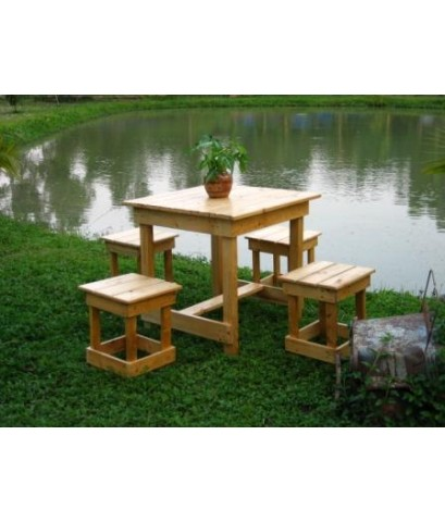 ชุดโต๊ะ เก้าอี้ (4 ตัว) ไม้ฉำฉา สำหรับร้านเหล้า บาร์ เหล้าปั่น ร้านกาแฟ ร้านอาหาร