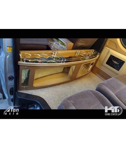 คอนโซลเตี้ย หลังเบาะคนขับ สำหรับรถตู้ แบบ อะคริลิค มีไฟ LED