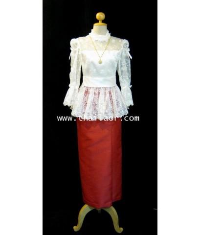 ชุดไทยรัชกาลที่ 5 ประยุกต์ สีงาช้าง-แดง (ผ้าพื้น)
