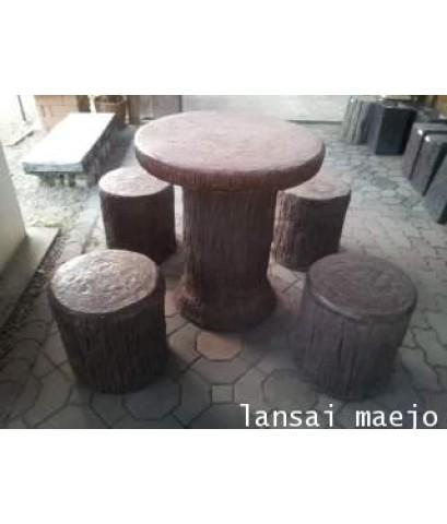 ชุดโต๊ะกลมลายไม้