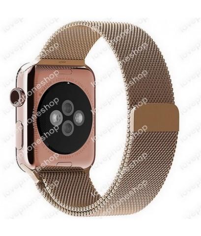 สายนาฬิกา Apple Watch Stainless Steel Mesh Milanese Loop สีRoseGose Series1/2/3/4 -38,40 mm.(ส่งฟรี)