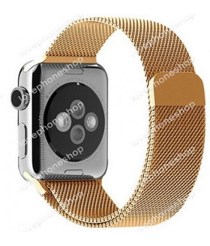 สายนาฬิกา Apple Watch Stainless Steel Mesh Milanese Loop สีGose Series1/2/3/4 -42,44 mm.(ส่งฟรี)