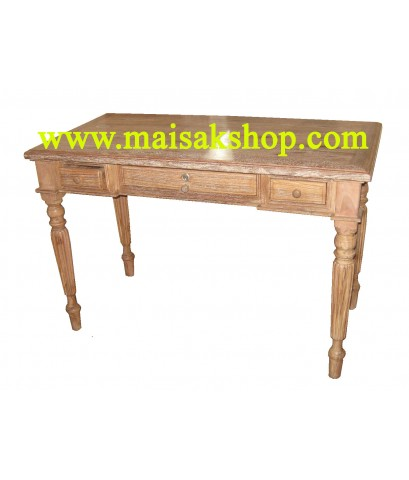 เฟอร์นิเจอร์ไม้สัก(Furniture) โต๊ะทำงานไม้สัก แบบ 3 ลิ้นชักขามะเฟือง