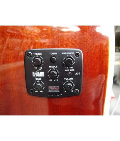 กีต้าร์โปร่งไฟฟ้ายี่ห้อCAROLS พร้อมเครื่องตั้งสายในตัวEQ B BANDและช่องเสียบสายแจ็ค 2  แบบ สีไม้