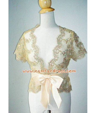 ชุดราตรี ชุดราตรีสั้น ผ้าไหมอิตาลีสีครีมทอง พร้อมเสื้อคลุมผ้าลูกไม้สีทอง