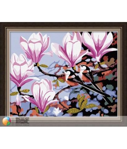 ระบายสี ตามตัวเอง :  ภาพดอกไม้ ดอกสีลาวดี ดอกลั่นทม ขนาด 40*50 ซม.