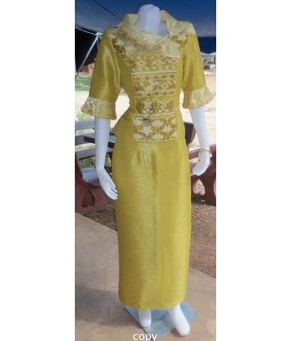 ชุดไหมผสมยาวสีเหลืองทอง